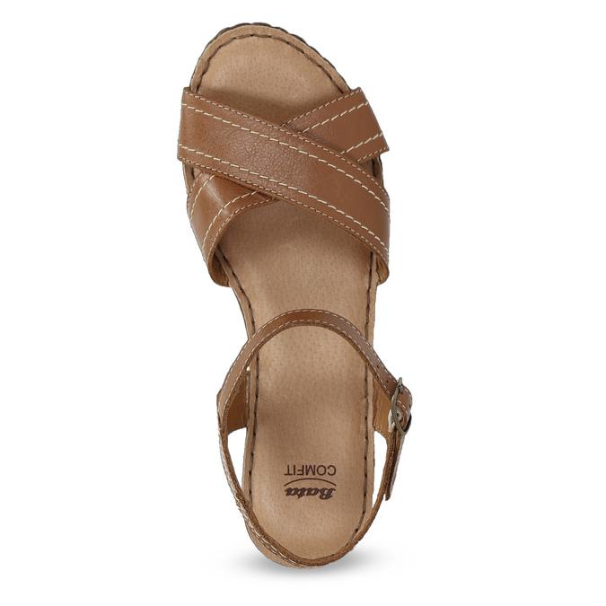 Brązowe skórzane sandały na drewnianych obcasach comfit, brązowy, 666-4624 - 17
