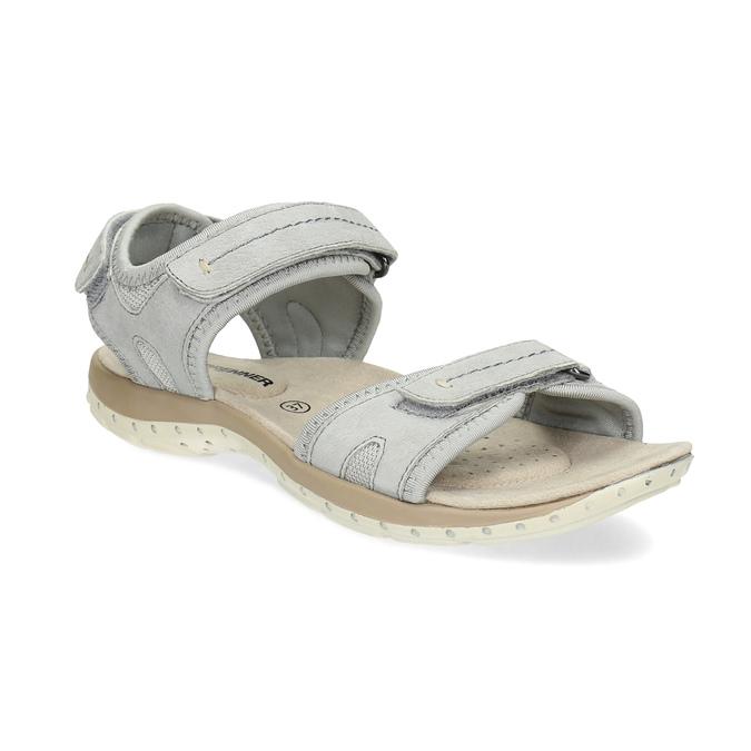 Skórzane sandały damskie na rzepy weinbrenner, szary, 566-2608 - 13