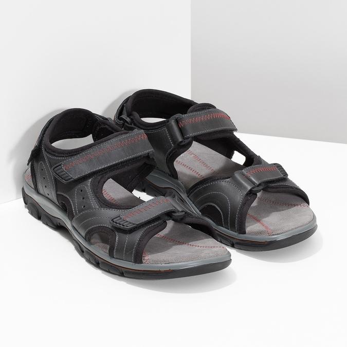 Czarne skórzane sandały męskie na rzepy weinbrenner, czarny, 866-6635 - 26
