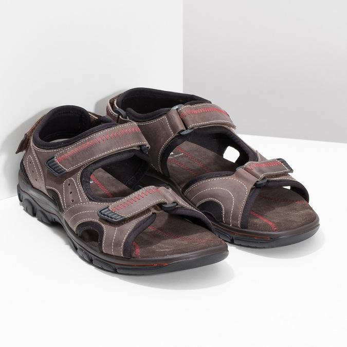 Brązowe skórzane sandały męskie na rzepy weinbrenner, brązowy, 866-4635 - 26