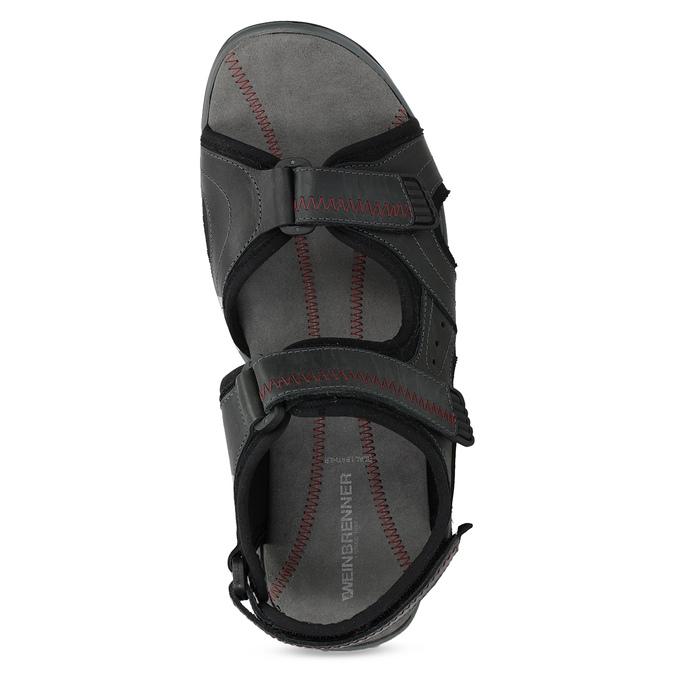 Czarne skórzane sandały męskie na rzepy weinbrenner, czarny, 866-6635 - 17