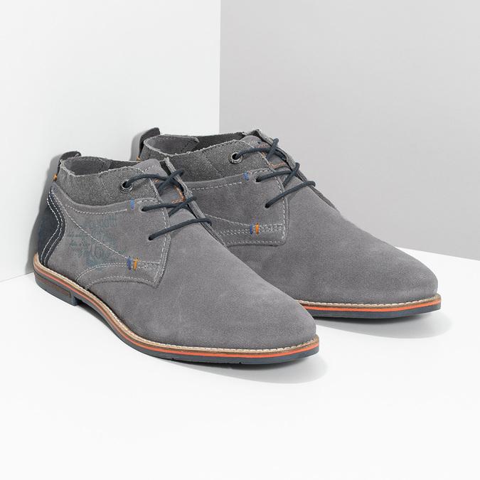 Szare zamszowe buty wstylu chukka bugatti, szary, 823-2015 - 26