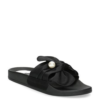 Czarne satynowe klapki zperełkami bata, czarny, 569-6615 - 13