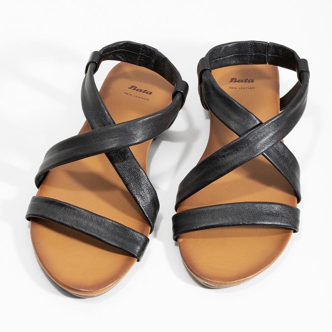 Czarne skórzane sandały damskie bata, czarny, 566-6635 - 16