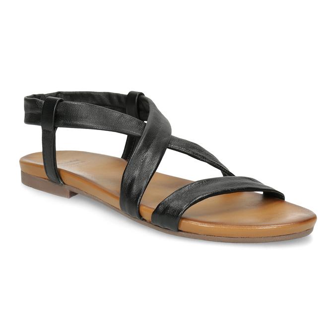 Czarne skórzane sandały damskie bata, czarny, 566-6635 - 13