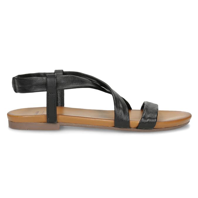 Czarne skórzane sandały damskie bata, czarny, 566-6635 - 19