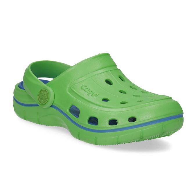 Zielone sandały dziecięce wstylu chodaków coqui, zielony, 372-7656 - 13