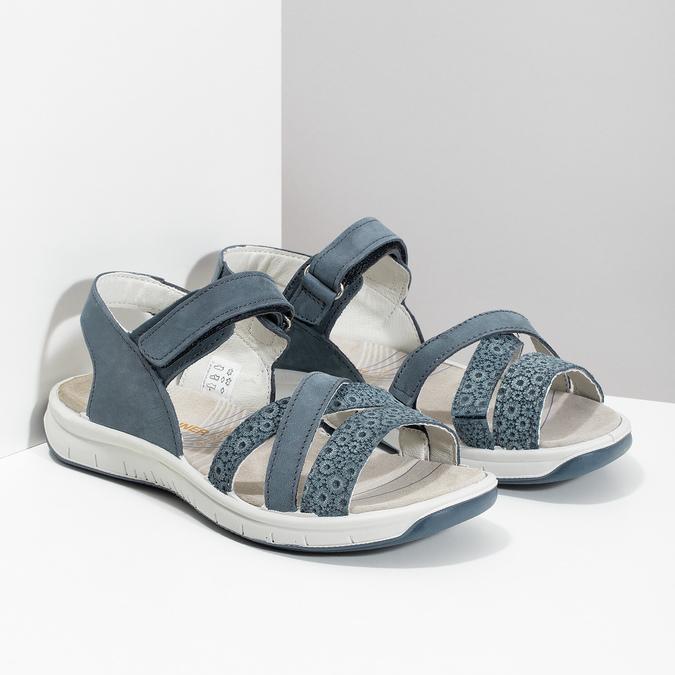 Niebieskie skórzane sandały wstylu outdoor weinbrenner, niebieski, 566-9634 - 26