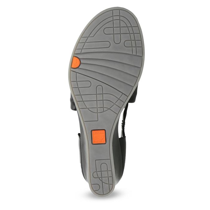 Czarne skórzane sandały na koturnach flexible, czarny, 664-6618 - 18