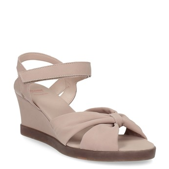 Beżowe skórzane sandały na koturnach flexible, beżowy, 666-5617 - 13
