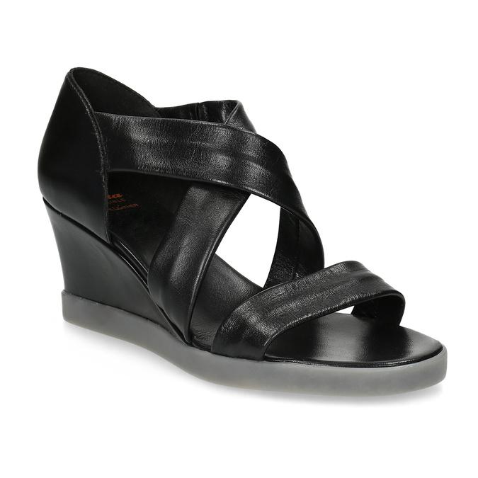 Czarne skórzane sandały na koturnach flexible, czarny, 664-6618 - 13