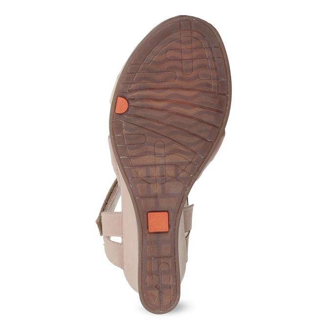 Beżowe skórzane sandały na koturnach flexible, beżowy, 666-5617 - 18
