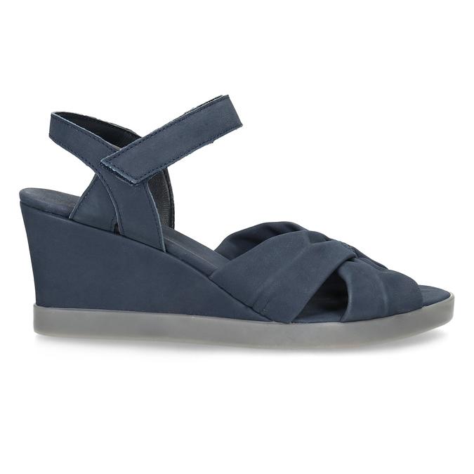 Granatowe skórzane sandały na koturnach flexible, niebieski, 666-9617 - 19