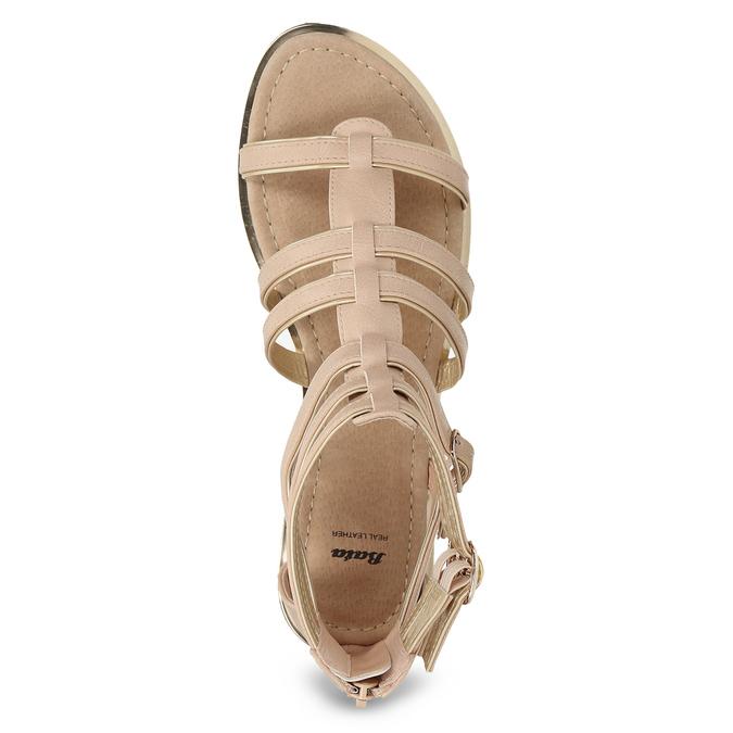 Beżowe sandały damskie typu gladiatorki bata, 561-8620 - 17
