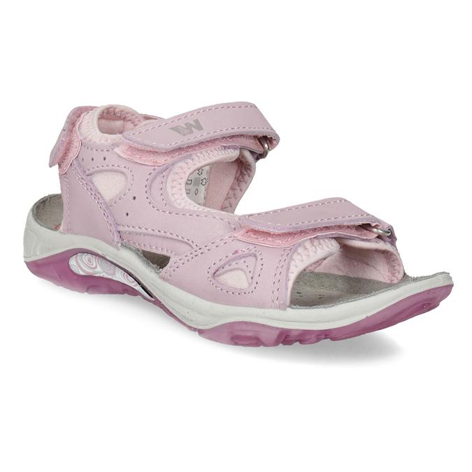 Skórzane sandały dziewczęce wstylu outdoor weinbrenner, różowy, 366-5606 - 13