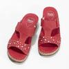 Czerwone skórzane klapki zkryształkami, na koturnach comfit, czerwony, 574-5438 - 16