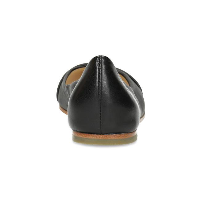 Czarne skórzane baleriny zćwiekami hogl, czarny, 524-6053 - 15