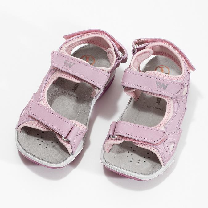 Skórzane sandały dziewczęce wstylu outdoor weinbrenner, różowy, 366-5606 - 16
