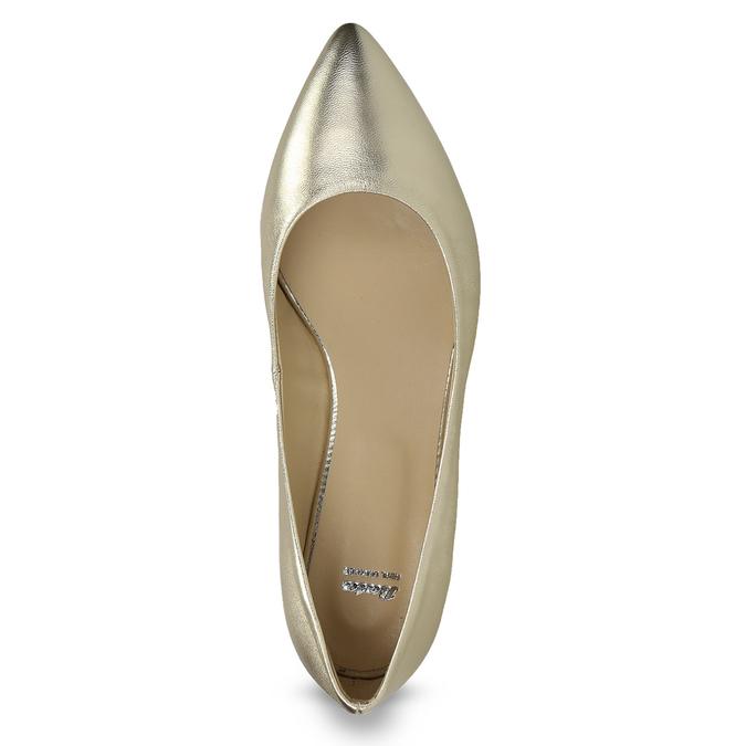 Złote skórzane baleriny wszpic bata, 526-8242 - 17