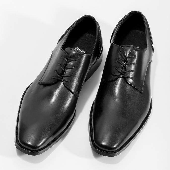 Czarne skórzane półbuty typu angielki bata, czarny, 824-6405 - 16
