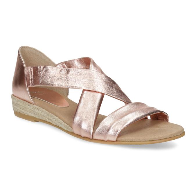 Sandały damskie na koturnach wkolorze różowego złota bata, brąz, 566-5649 - 13