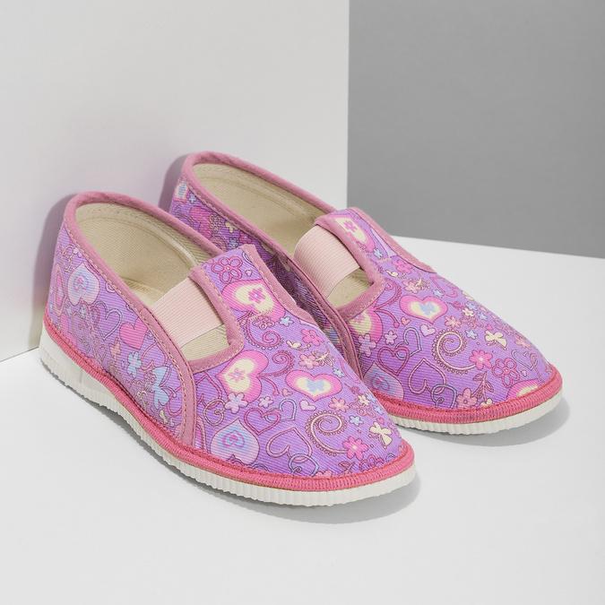 Różowe wzorzyste kapcie dziecięce bata, różowy, 279-5129 - 26