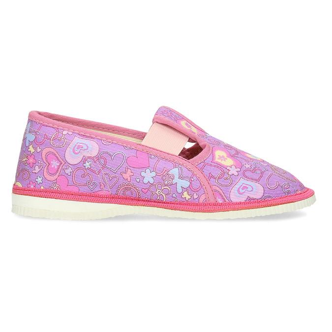 Różowe wzorzyste kapcie dziecięce bata, różowy, 379-5218 - 19