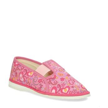 Różowe wzorzyste kapcie dziewczęce bata, różowy, 179-5213 - 13