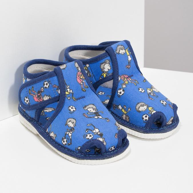 Granatowe wzorzyste kapcie dziecięce za kostkę bata, niebieski, 179-9212 - 26