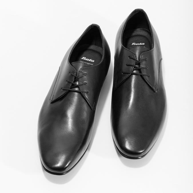 Czarne skórzane półbuty typu angielki bata, czarny, 824-6606 - 16