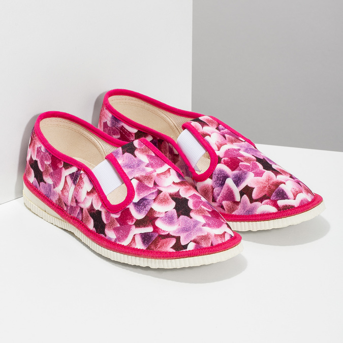 Różowe wzorzyste kapcie dziecięce bata, różowy, 379-9123 - 26