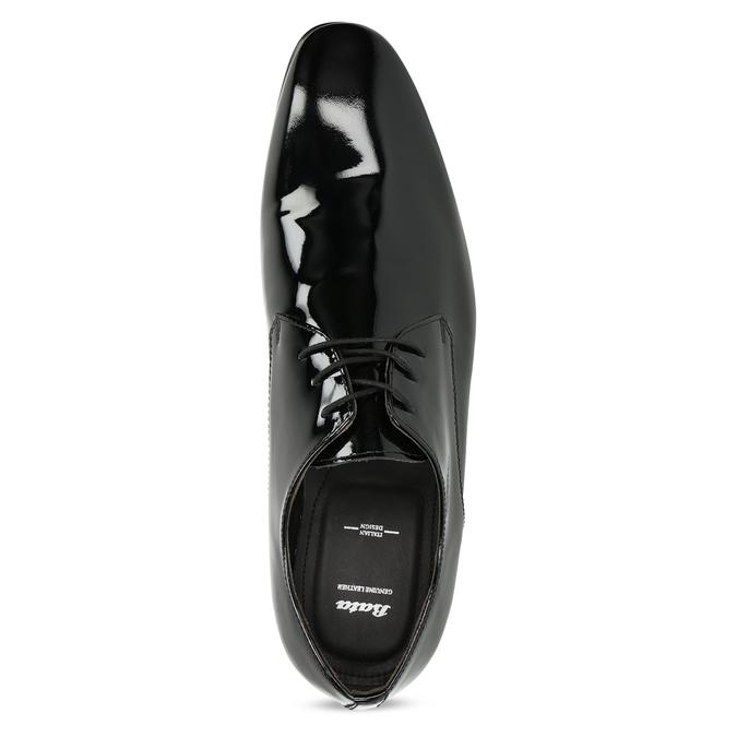 Skórzane lakierowane półbuty męskie typu angielki bata, czarny, 828-6606 - 17