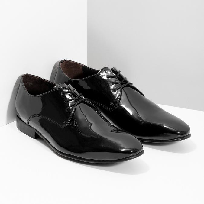 Skórzane lakierowane półbuty męskie typu angielki bata, czarny, 828-6606 - 26