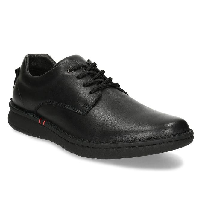 Czarne skórzane półbuty męskie bata, czarny, 824-6630 - 13