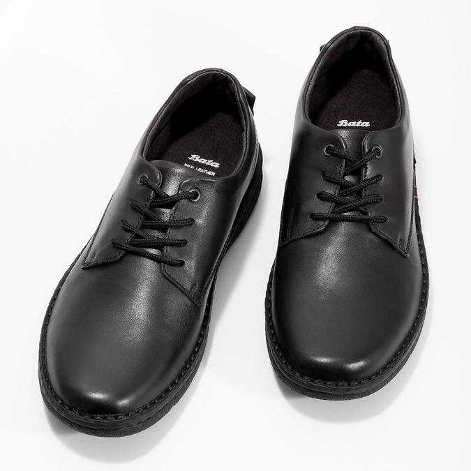 Czarne skórzane półbuty męskie bata, czarny, 824-6630 - 16