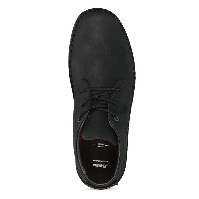 Czarne skórzane obuwie męskie za kostkę bata, czarny, 846-6716 - 17