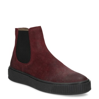 Bordowe skórzane obuwie damskie typu chelsea bata, czerwony, 596-5713 - 13