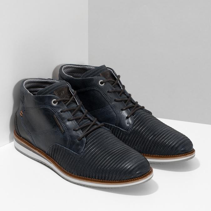 Granatowe skórzane obuwie męskie za kostkę bata, niebieski, 826-9912 - 26