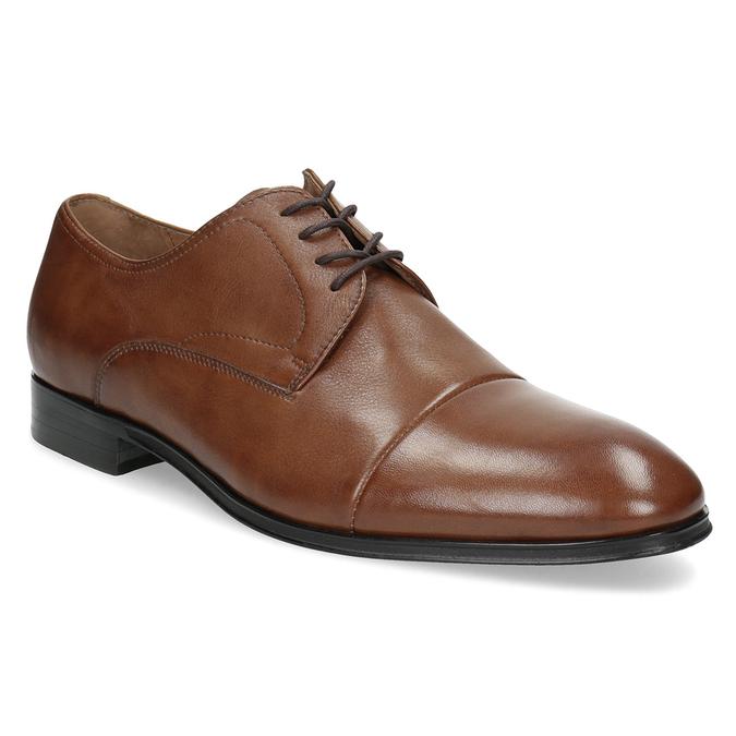Brązowe skórzane półbuty męskie bata, brązowy, 826-3406 - 13