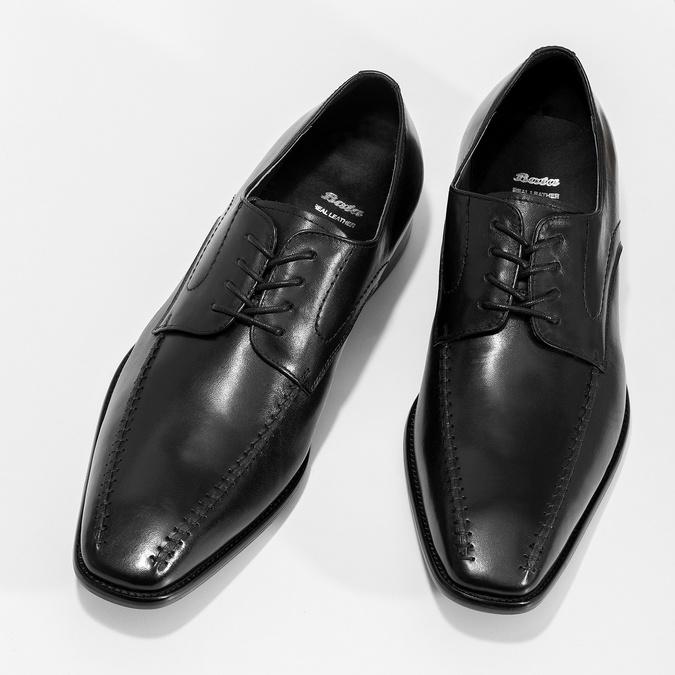 Skórzane półbuty męskie typu angielki, zprzeszyciami bata, czarny, 824-6633 - 16