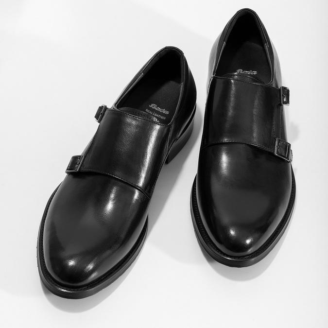 Męskie buty typu Monk z czarnej skóry bata, czarny, 824-6632 - 16