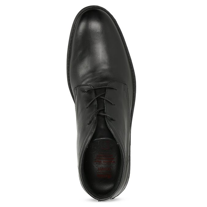 Czarne buty męskie za kostkę zgładkiej skóry comfit, czarny, 824-6822 - 17