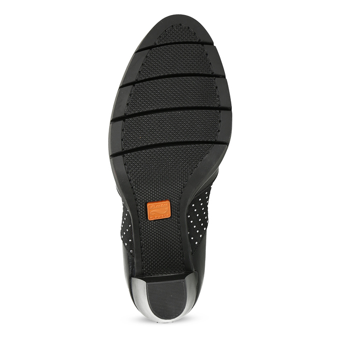 Damskie półbuty na obcasie skórzane flexible, czarny, 714-6600 - 18