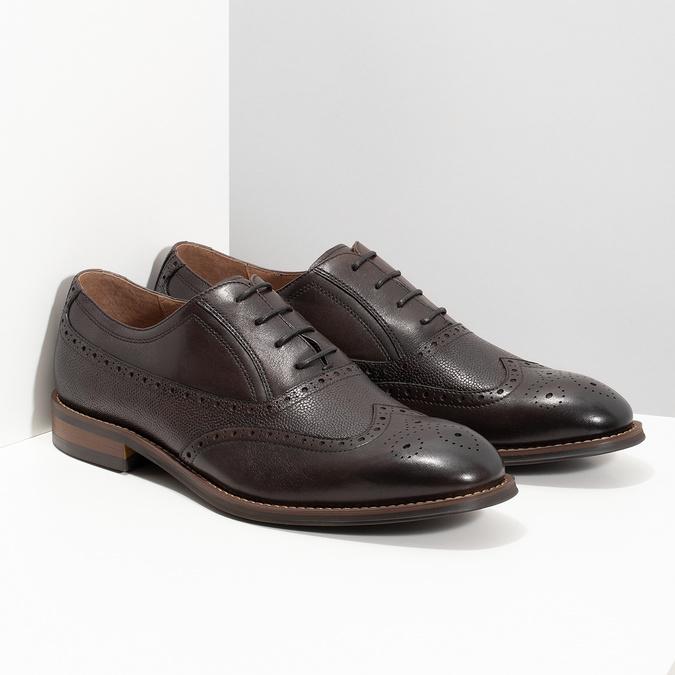 Brązowe skórzane półbuty typu oksfordy bata, brązowy, 826-4785 - 26