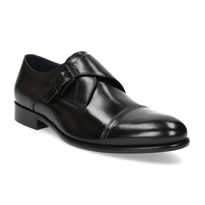 Czarne skórzane półbuty męskie zklamrami bata, czarny, 824-6610 - 13