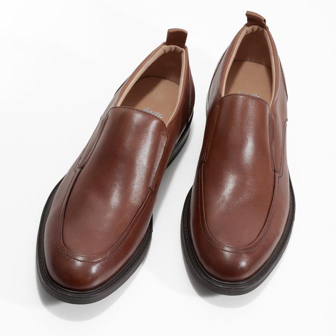 Brązowe skórzane mokasyny męskie bata, brązowy, 816-3628 - 16
