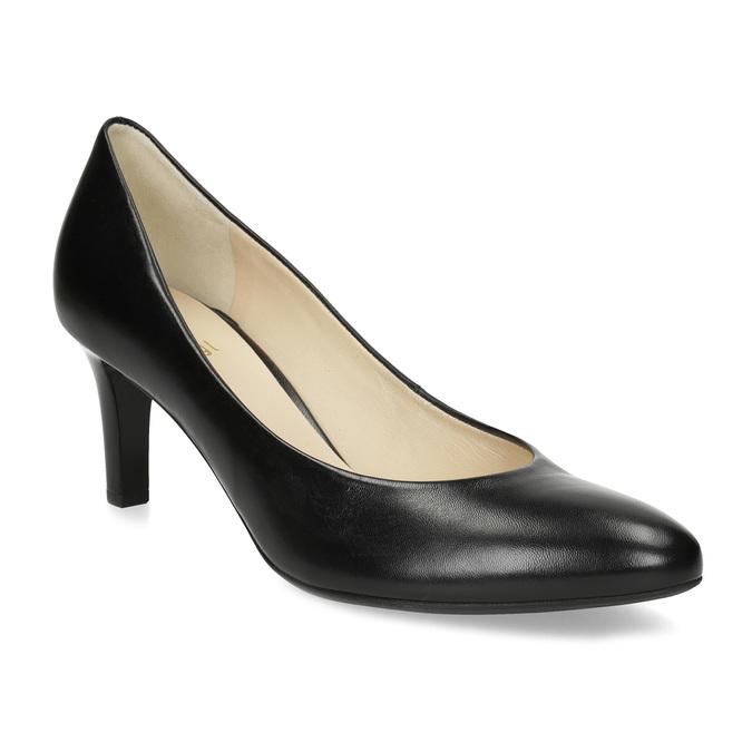 Czarne skórzane czółenka damskie hogl, czarny, 724-6085 - 13