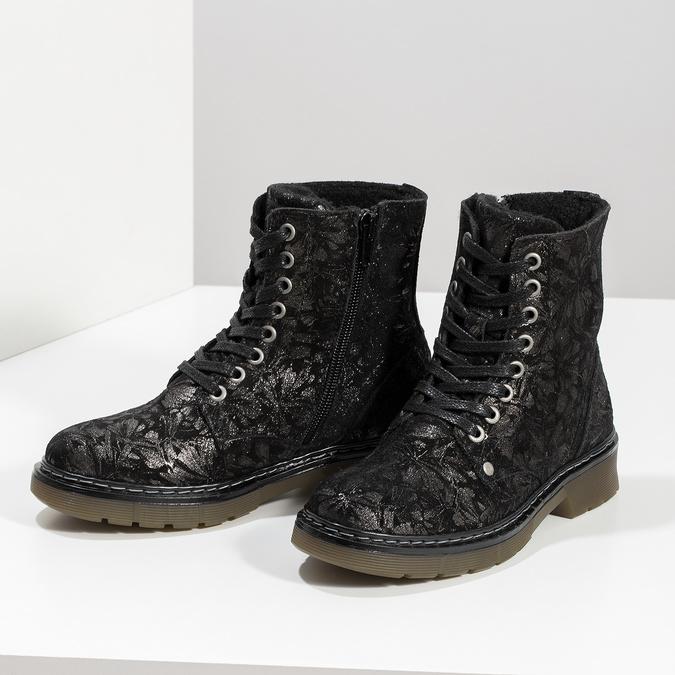 Skórzane botki dziecięce wdeseń mini-b, czarny, 426-2560 - 16