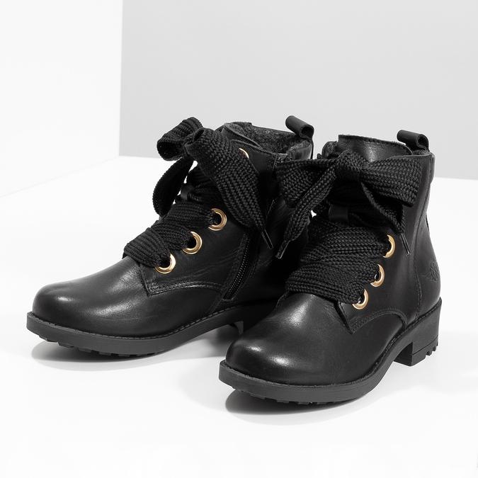 Skórzane botki dziecięce mini-b, czarny, 424-6600 - 16