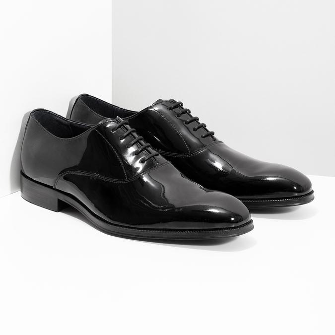 Lakierowane skórzane półbuty męskie typu oksfordy bata, czarny, 828-6608 - 26